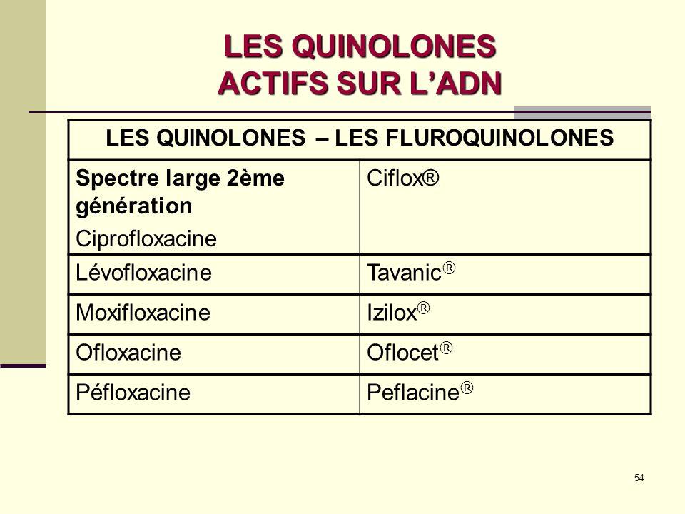 54 LES QUINOLONES ACTIFS SUR LADN LES QUINOLONES – LES FLUROQUINOLONES Spectre large 2ème génération Ciprofloxacine Ciflox® LévofloxacineTavanic ® MoxifloxacineIzilox ® OfloxacineOflocet ® PéfloxacinePeflacine ®