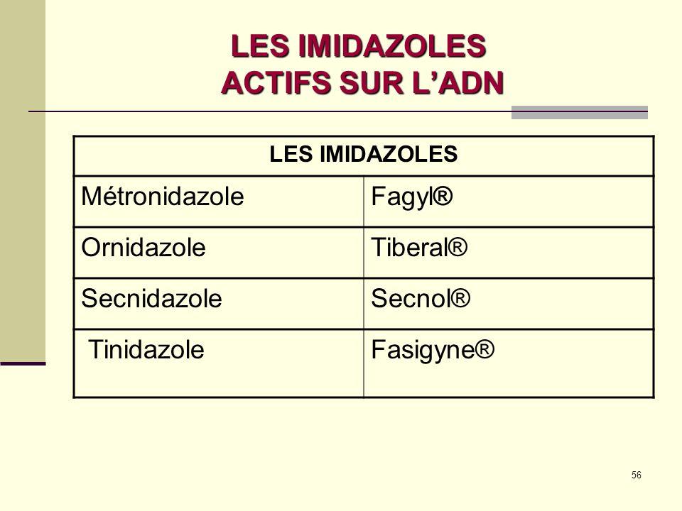 56 LES IMIDAZOLES ACTIFS SUR LADN LES IMIDAZOLES MétronidazoleFagyl® OrnidazoleTiberal® SecnidazoleSecnol® TinidazoleFasigyne®