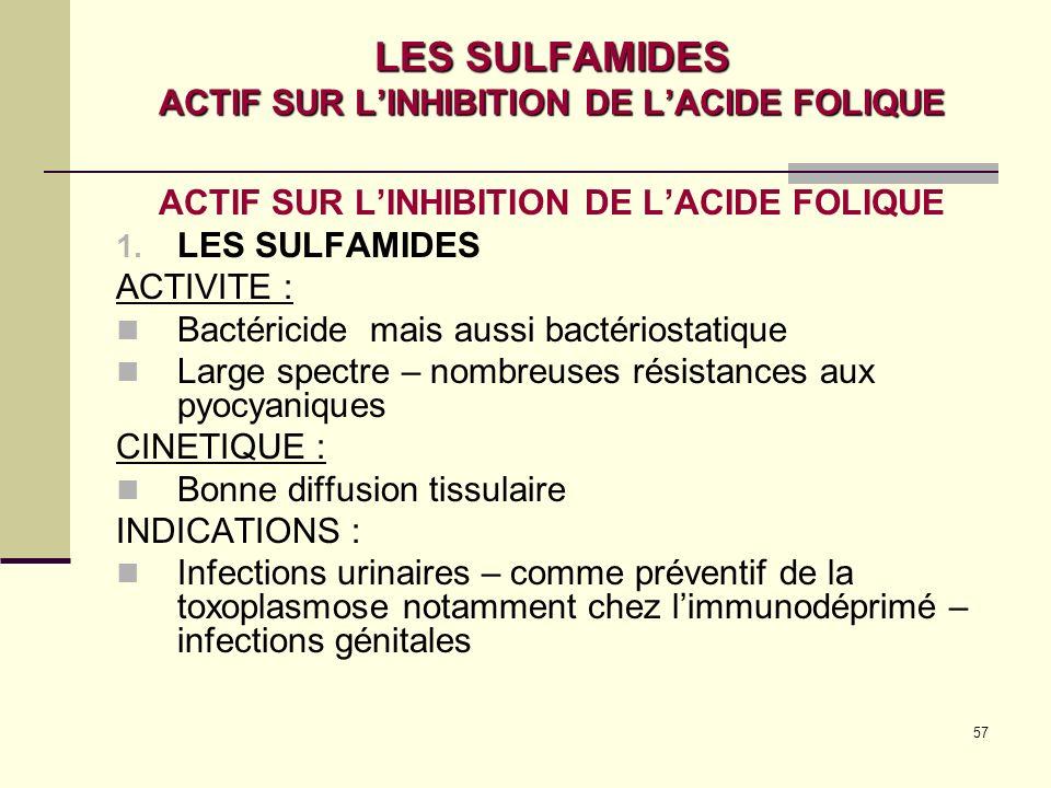57 LES SULFAMIDES ACTIF SUR LINHIBITION DE LACIDE FOLIQUE ACTIF SUR LINHIBITION DE LACIDE FOLIQUE 1.