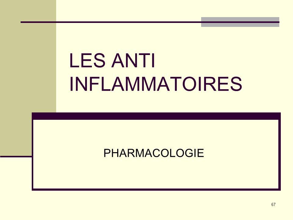 67 LES ANTI INFLAMMATOIRES PHARMACOLOGIE