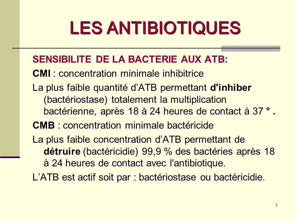 7 LES ANTIBIOTIQUES SENSIBILITE DE LA BACTERIE AUX ATB: CMI : concentration minimale inhibitrice La plus faible quantité dATB permettant d inhiber (bactériostase) totalement la multiplication bactérienne, après 18 à 24 heures de contact à 37 °.