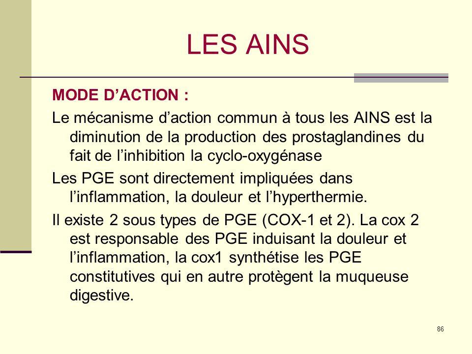 86 LES AINS MODE DACTION : Le mécanisme daction commun à tous les AINS est la diminution de la production des prostaglandines du fait de linhibition la cyclo-oxygénase Les PGE sont directement impliquées dans linflammation, la douleur et lhyperthermie.