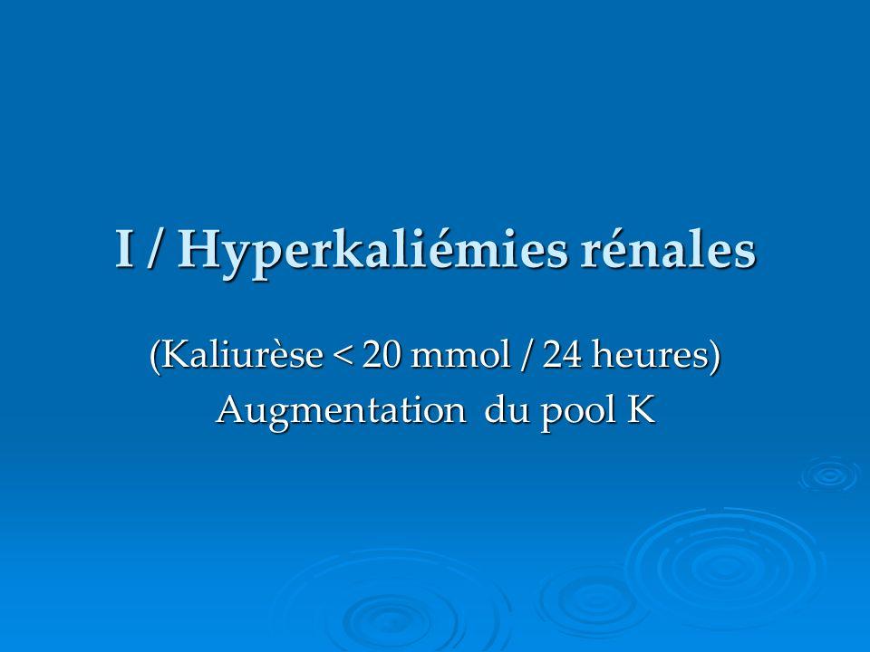 I / Hyperkaliémies rénales (Kaliurèse < 20 mmol / 24 heures) Augmentation du pool K