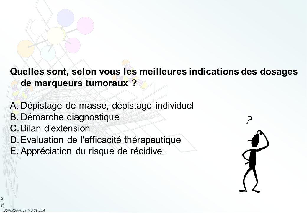 Sylvain Dubucquoi, CHRU de Lille Quelles sont, selon vous les meilleures indications des dosages de marqueurs tumoraux .