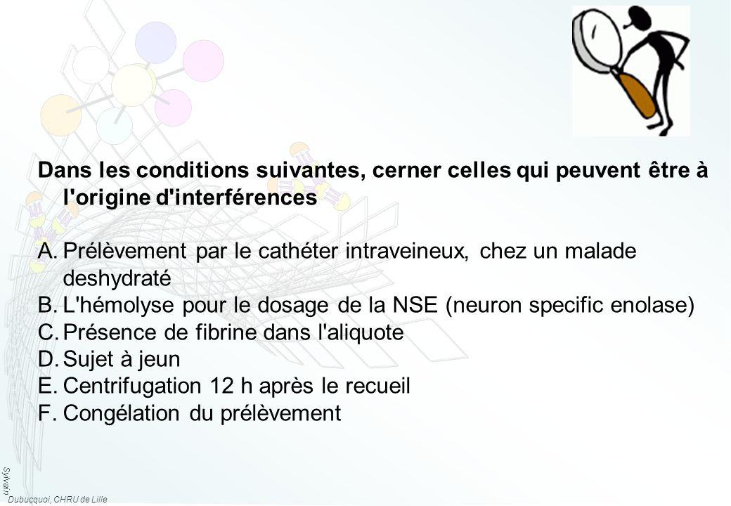 Sylvain Dubucquoi, CHRU de Lille Dans les conditions suivantes, cerner celles qui peuvent être à l origine d interférences A.Prélèvement par le cathéter intraveineux, chez un malade deshydraté B.L hémolyse pour le dosage de la NSE (neuron specific enolase) C.Présence de fibrine dans l aliquote D.Sujet à jeun E.Centrifugation 12 h après le recueil F.Congélation du prélèvement