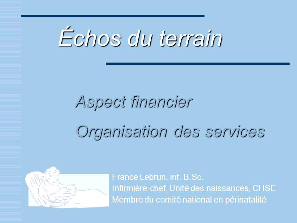 Aspect financier Organisation des services France Lebrun, inf. B.Sc. Infirmière-chef, Unité des naissances, CHSE Membre du comité national en périnata