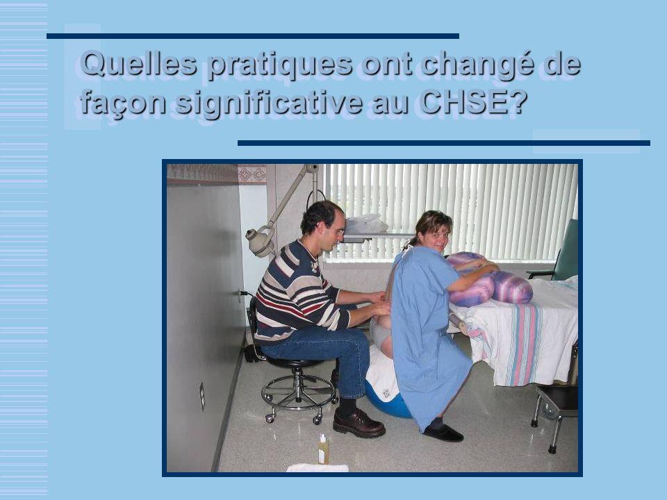 Quelles pratiques ont changé de façon significative au CHSE?