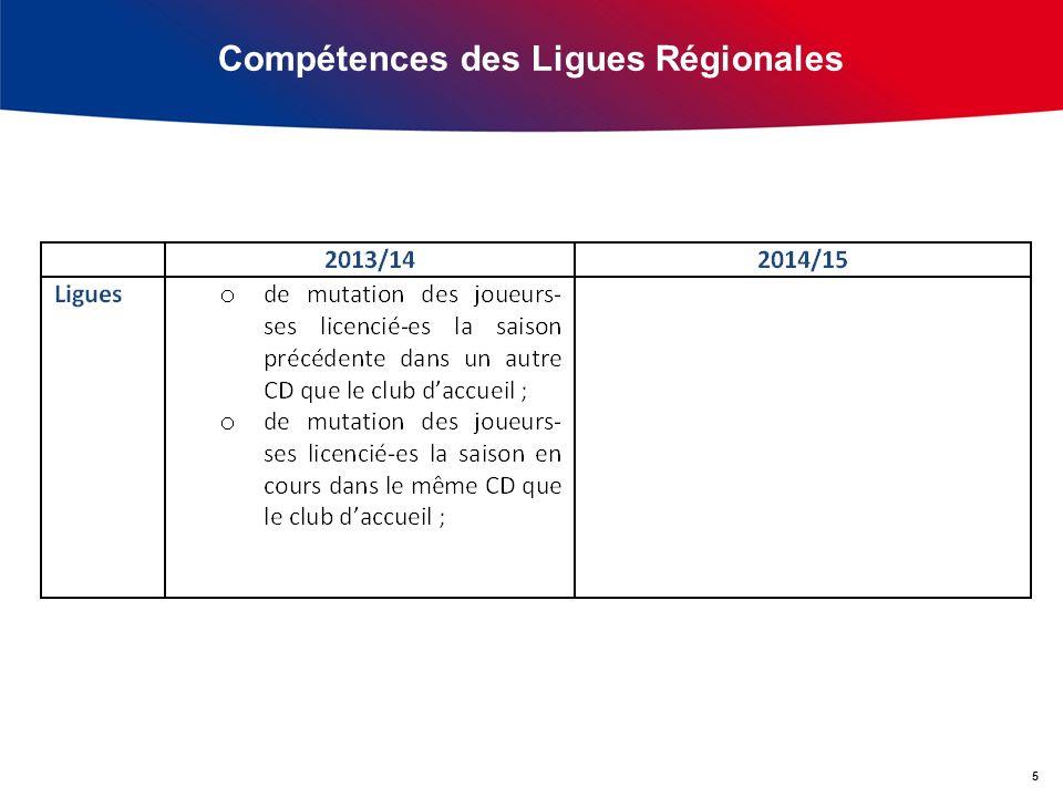 Compétences des Ligues Régionales 5