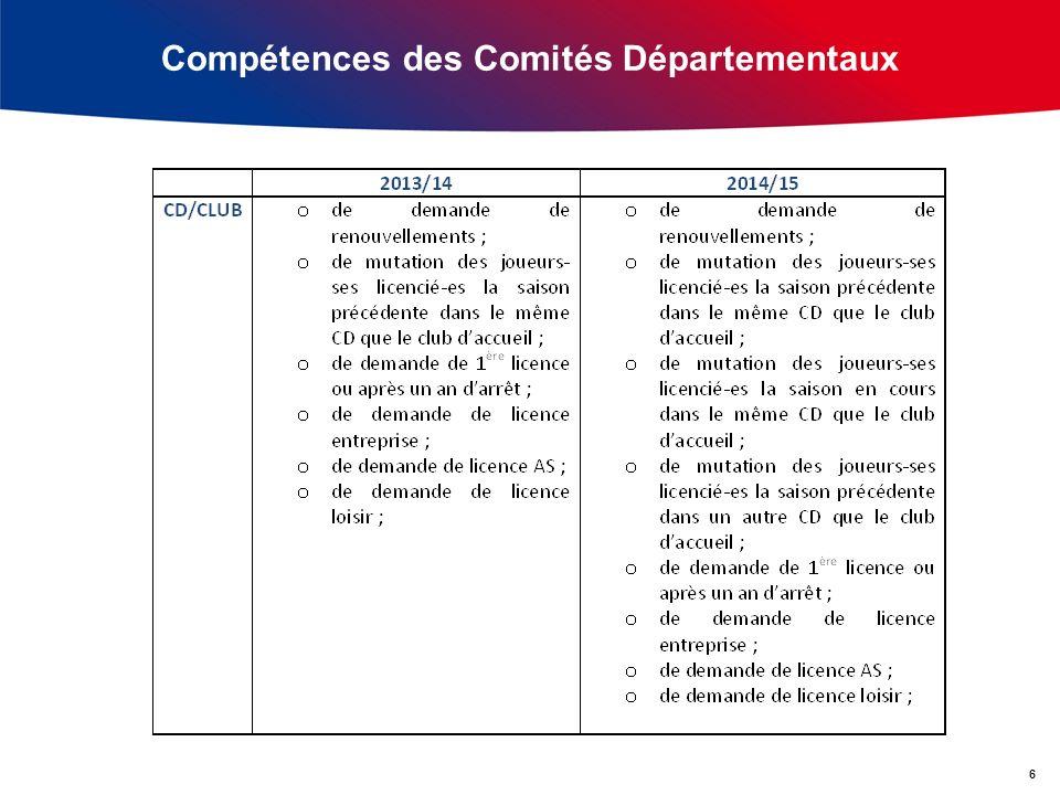 Compétences des Comités Départementaux 6