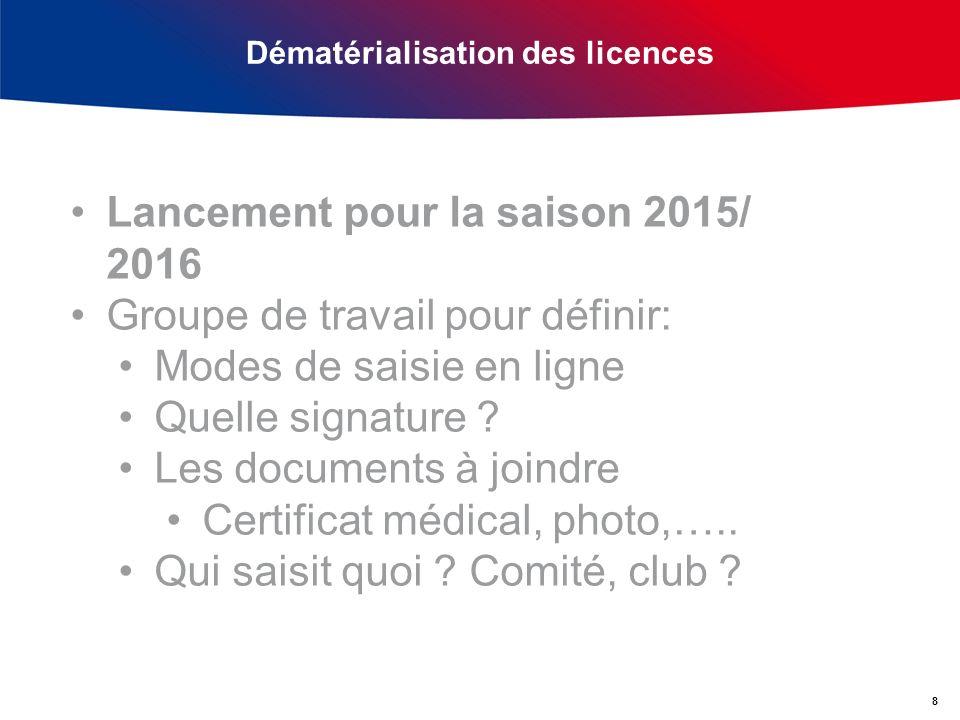 Dématérialisation des licences 8 Lancement pour la saison 2015/ 2016 Groupe de travail pour définir: Modes de saisie en ligne Quelle signature .