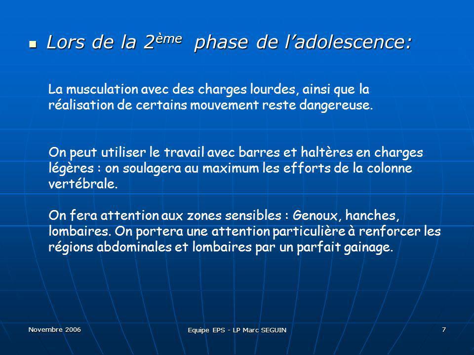 Novembre 2006 Equipe EPS - LP Marc SEGUIN 8 Les Exercices « dangereux » Tous les exercices avec charge sur les épaules.