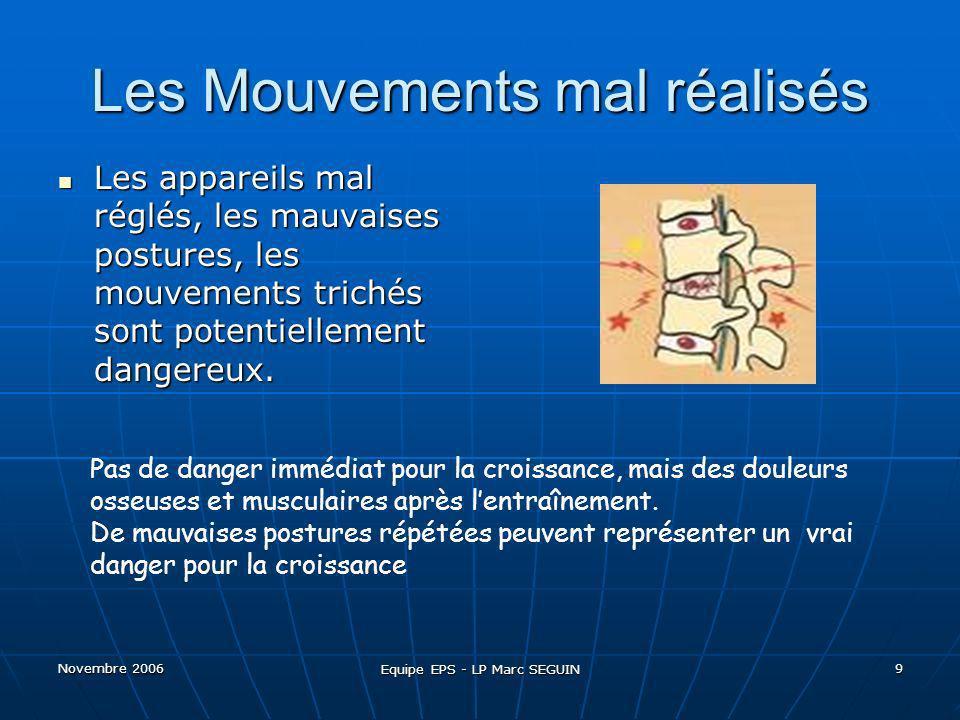 Novembre 2006 Equipe EPS - LP Marc SEGUIN 10 Pour que la musculation soit bénéfique.