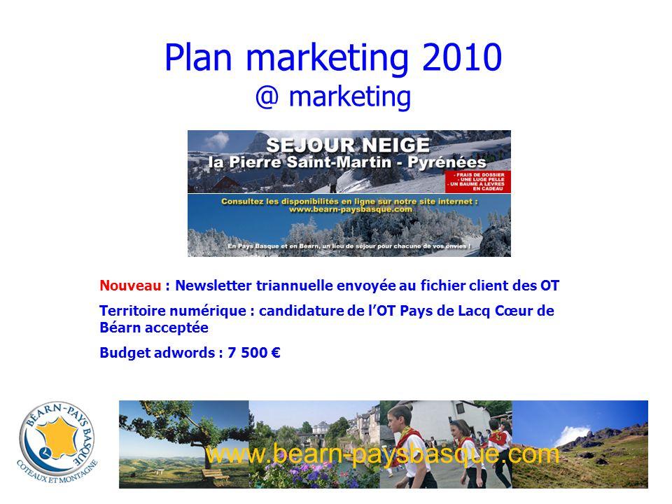 www.bearn-paysbasque.com Plan marketing 2010 @ marketing Nouveau : Newsletter triannuelle envoyée au fichier client des OT Territoire numérique : candidature de lOT Pays de Lacq Cœur de Béarn acceptée Budget adwords : 7 500