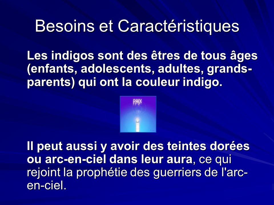 Besoins et Caractéristiques Les indigos sont des êtres de tous âges (enfants, adolescents, adultes, grands- parents) qui ont la couleur indigo.