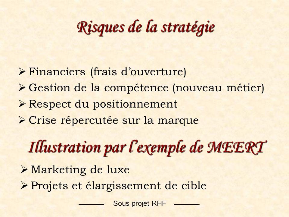 Sous projet RHF Risques de la stratégie Financiers (frais douverture) Gestion de la compétence (nouveau métier) Respect du positionnement Crise réperc