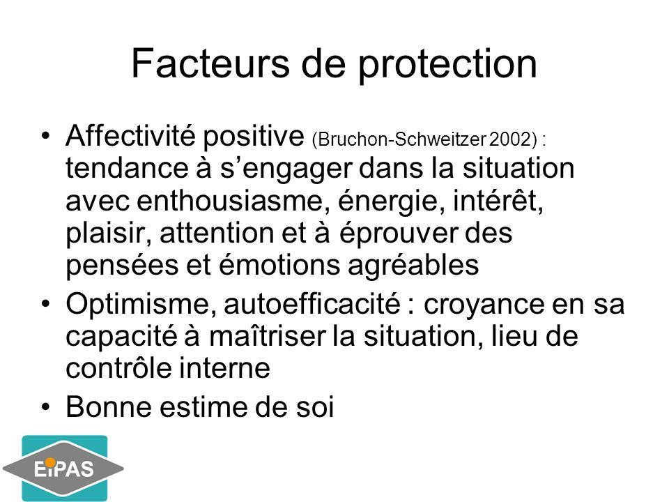 Facteurs de protection Affectivité positive (Bruchon-Schweitzer 2002) : tendance à sengager dans la situation avec enthousiasme, énergie, intérêt, pla