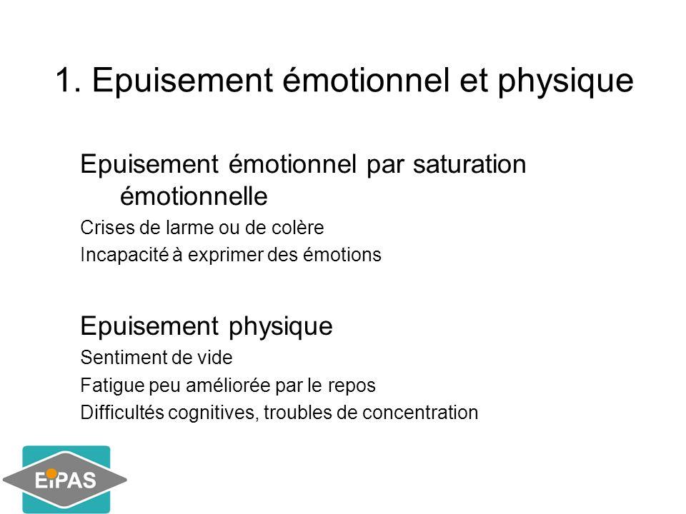 1. Epuisement émotionnel et physique Epuisement émotionnel par saturation émotionnelle Crises de larme ou de colère Incapacité à exprimer des émotions