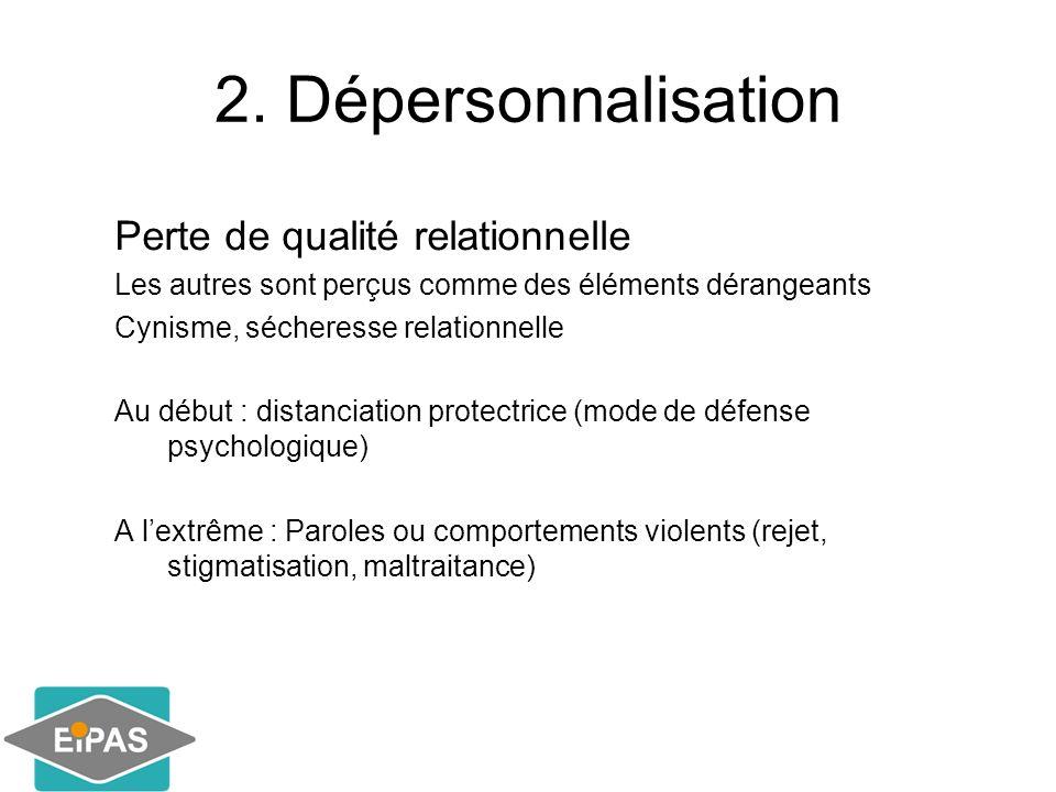 2. Dépersonnalisation Perte de qualité relationnelle Les autres sont perçus comme des éléments dérangeants Cynisme, sécheresse relationnelle Au début