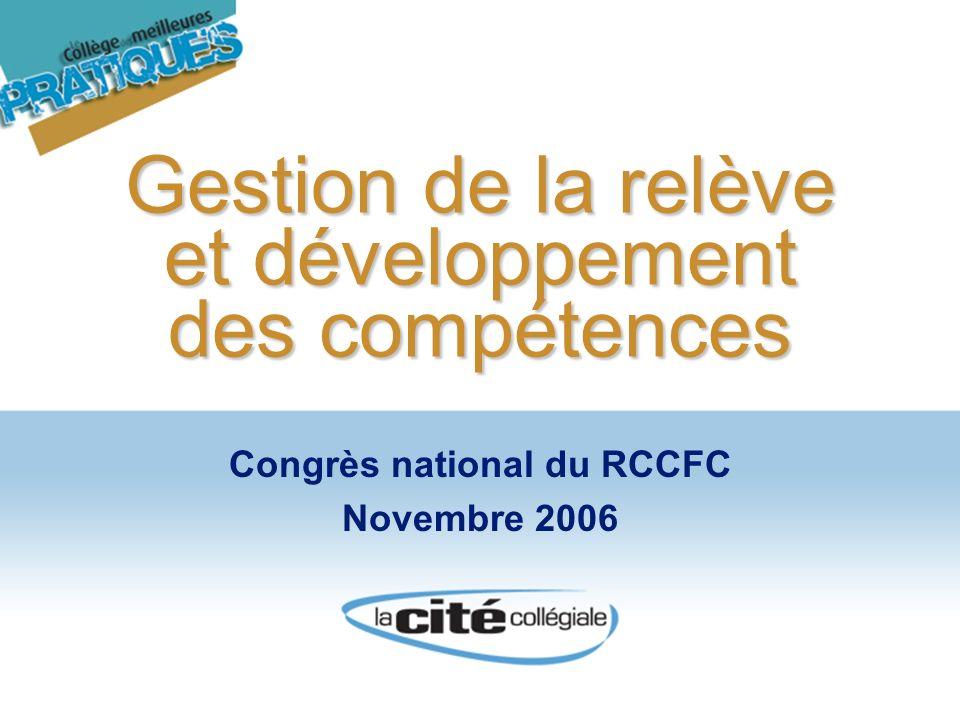 Gestion de la relève et développement des compétences Congrès national du RCCFC Novembre 2006