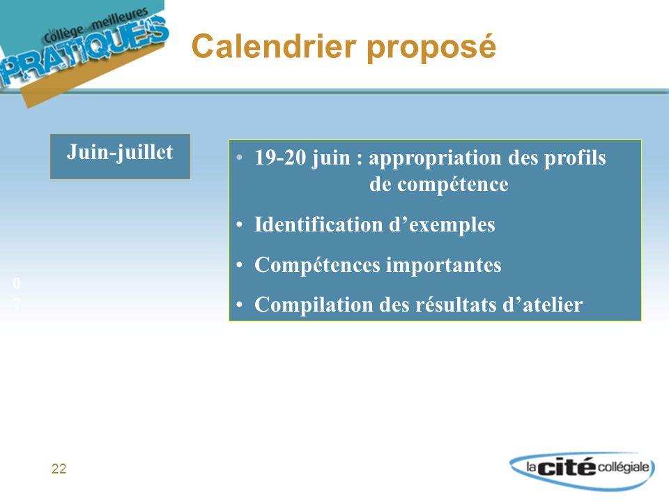22 Calendrier proposé Juin-juillet 19-20 juin : appropriation des profils de compétence Identification dexemples Compétences importantes Compilation des résultats datelier 0707