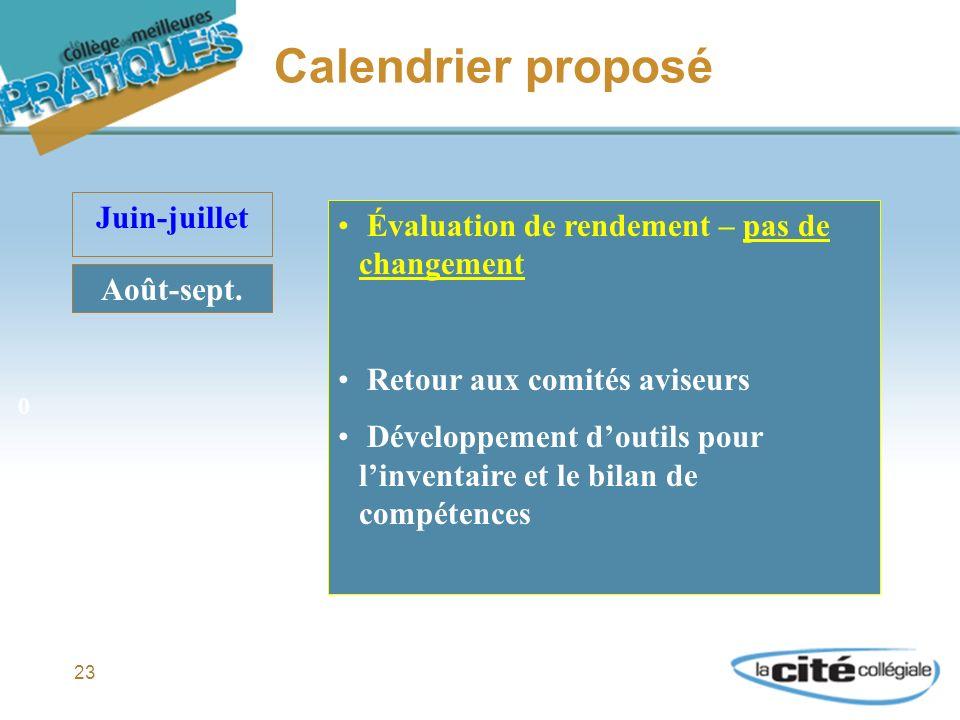 23 Calendrier proposé Juin-juillet Août-sept.