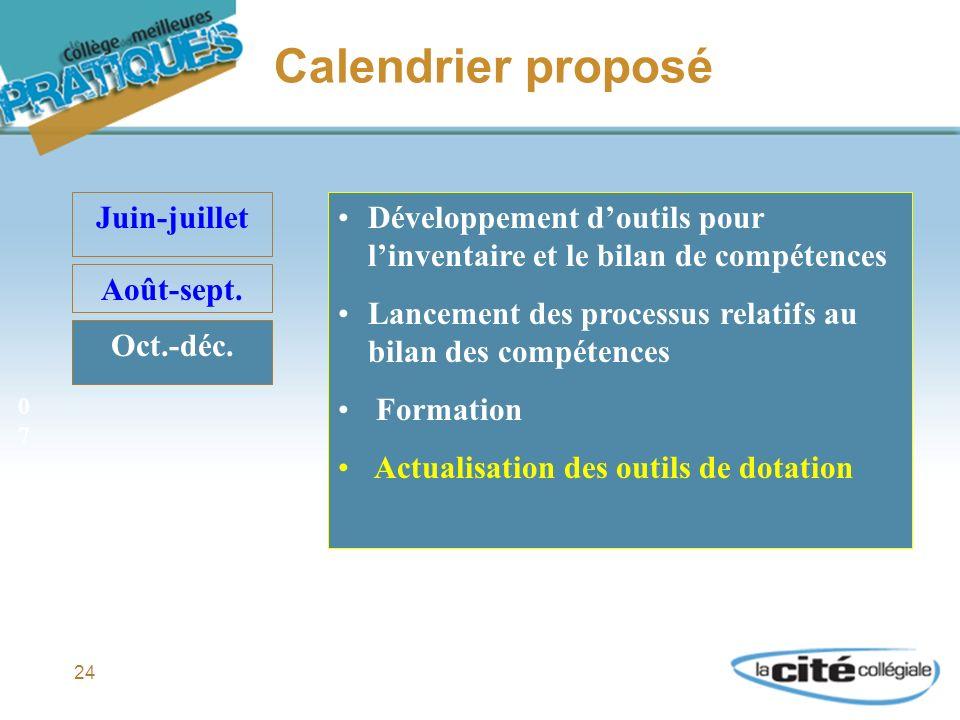 24 Calendrier proposé Juin-juillet Août-sept. Oct.-déc.