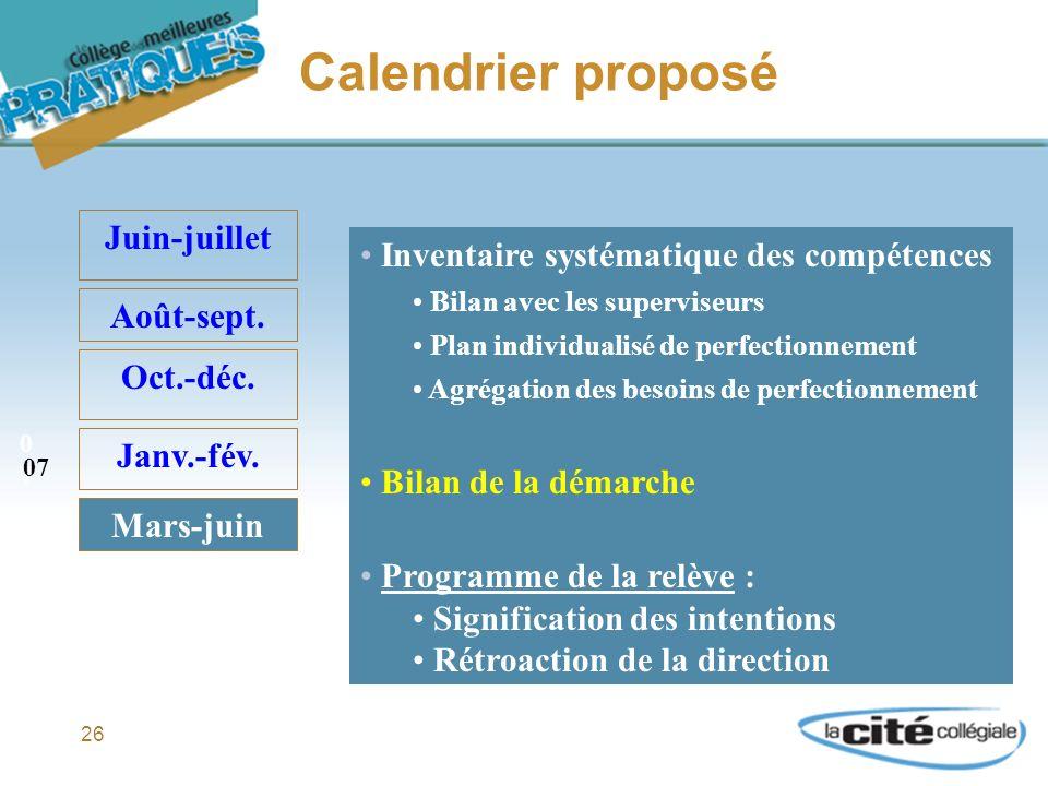 26 Calendrier proposé Juin-juillet Août-sept. Oct.-déc.