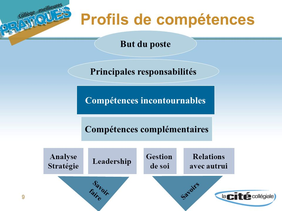 9 Profils de compétences But du poste Principales responsabilités Compétences incontournables Compétences complémentaires Analyse Stratégie Leadership Gestion de soi Relations avec autrui Savoir faire Savoirs