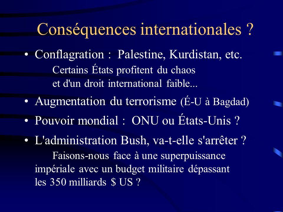 Conséquences internationales ? Conflagration : Palestine, Kurdistan, etc. Certains États profitent du chaos et d'un droit international faible... Augm