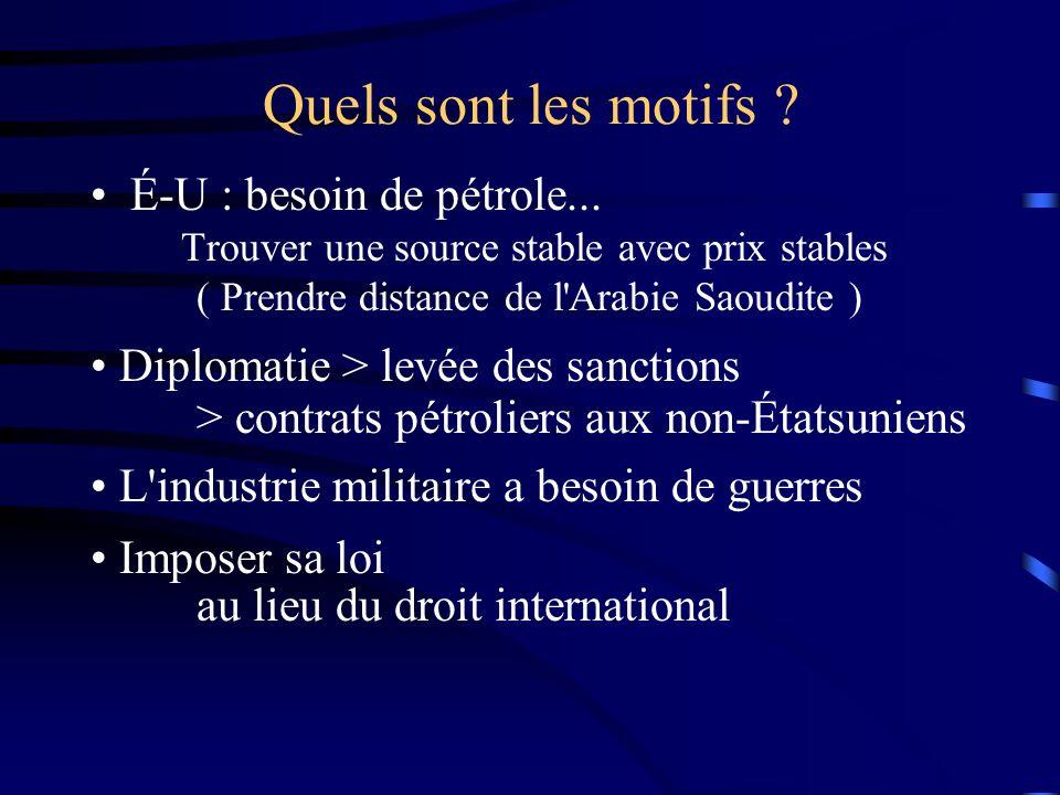 Quels sont les motifs ? É-U : besoin de pétrole... Trouver une source stable avec prix stables ( Prendre distance de l'Arabie Saoudite ) Diplomatie >