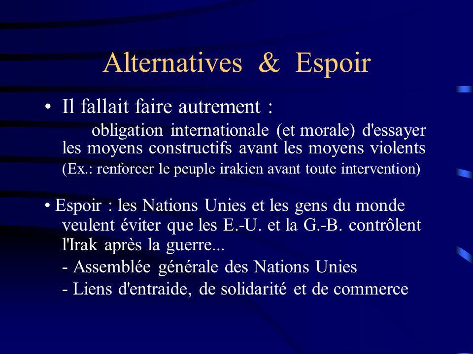 Alternatives & Espoir Il fallait faire autrement : obligation internationale (et morale) d'essayer les moyens constructifs avant les moyens violents (