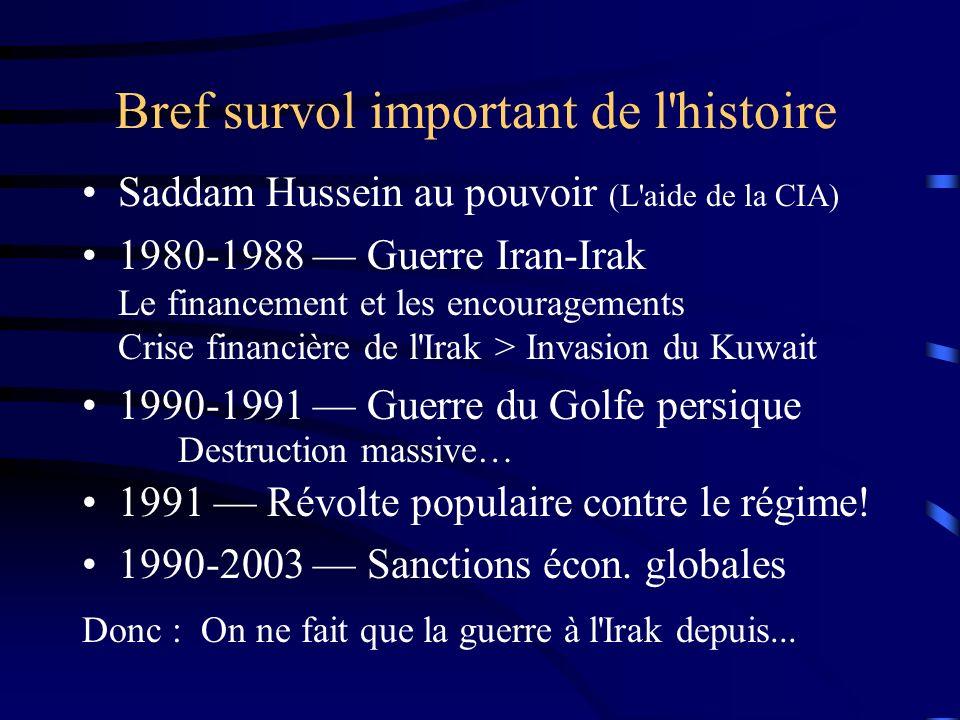 Bref survol important de l'histoire Saddam Hussein au pouvoir (L'aide de la CIA) 1980-1988 Guerre Iran-Irak Le financement et les encouragements Crise