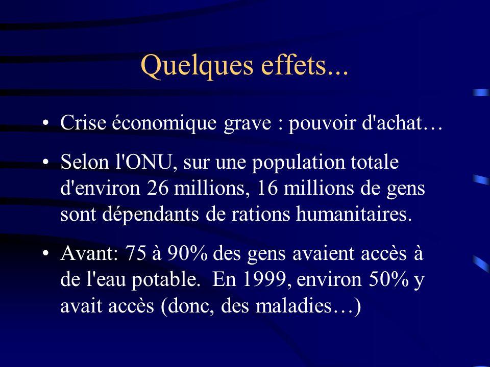Quelques effets... Crise économique grave : pouvoir d'achat… Selon l'ONU, sur une population totale d'environ 26 millions, 16 millions de gens sont dé