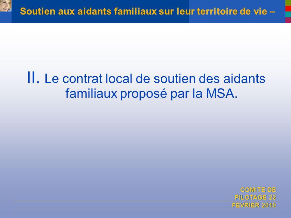 COMITE DE PILOTAGE 22 FEVRIER 2010 Soutien aux aidants familiaux sur leur territoire de vie – II. Le contrat local de soutien des aidants familiaux pr