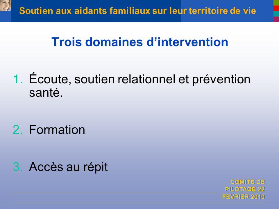 COMITE DE PILOTAGE 22 FEVRIER 2010 Soutien aux aidants familiaux sur leur territoire de vie Trois domaines dintervention 1.Écoute, soutien relationnel