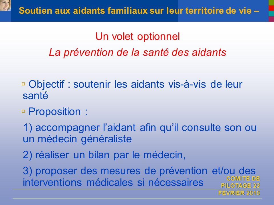 COMITE DE PILOTAGE 22 FEVRIER 2010 Soutien aux aidants familiaux sur leur territoire de vie – Un volet optionnel La prévention de la santé des aidants