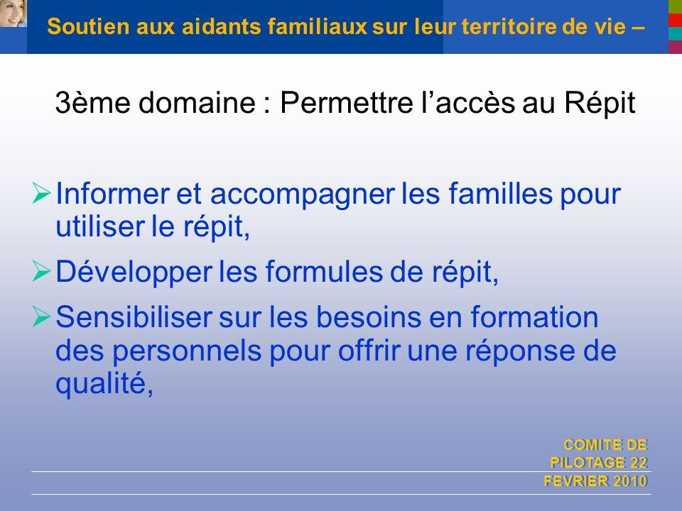 COMITE DE PILOTAGE 22 FEVRIER 2010 Soutien aux aidants familiaux sur leur territoire de vie – 3ème domaine : Permettre laccès au Répit Informer et acc