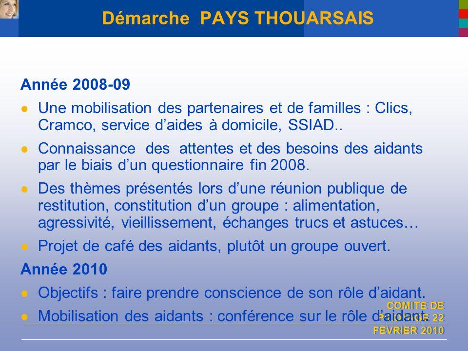 COMITE DE PILOTAGE 22 FEVRIER 2010 Démarche PAYS THOUARSAIS Année 2008-09 Une mobilisation des partenaires et de familles : Clics, Cramco, service dai