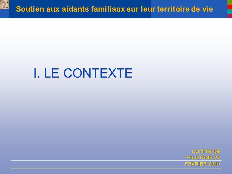 COMITE DE PILOTAGE 22 FEVRIER 2010 Soutien aux aidants familiaux sur leur territoire de vie I. LE CONTEXTE