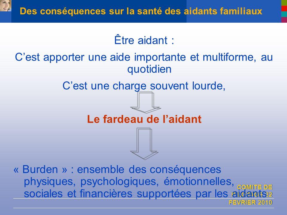 COMITE DE PILOTAGE 22 FEVRIER 2010 Des conséquences sur la santé des aidants familiaux Être aidant : Cest apporter une aide importante et multiforme,