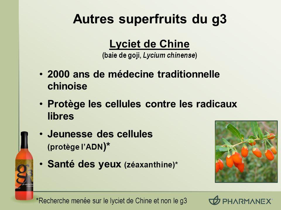 *Recherche menée sur le lyciet de Chine et non le g3 2000 ans de médecine traditionnelle chinoise Protège les cellules contre les radicaux libres Jeunesse des cellules (protège lADN )* Santé des yeux (zéaxanthine)* Autres superfruits du g3 Lyciet de Chine (baie de goji, Lycium chinense )