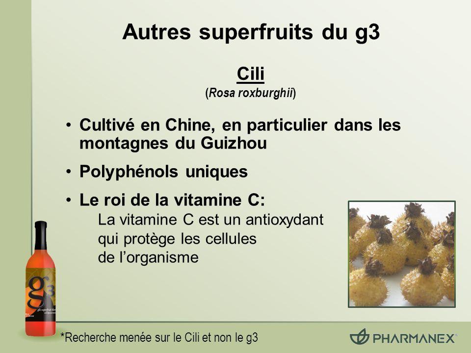Autres superfruits du g3 *Recherche menée sur le Cili et non le g3 Cili ( Rosa roxburghii ) Cultivé en Chine, en particulier dans les montagnes du Guizhou Polyphénols uniques Le roi de la vitamine C: La vitamine C est un antioxydant qui protège les cellules de lorganisme