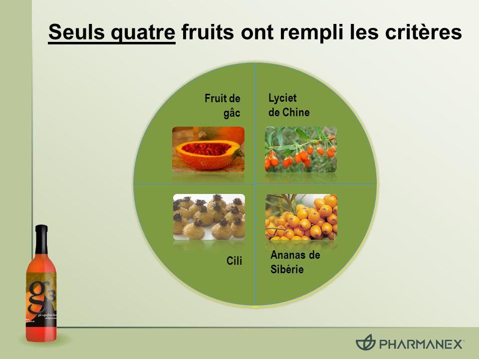 Seuls quatre fruits ont rempli les critères Fruit de gâc Lyciet de Chine Cili Ananas de Sibérie