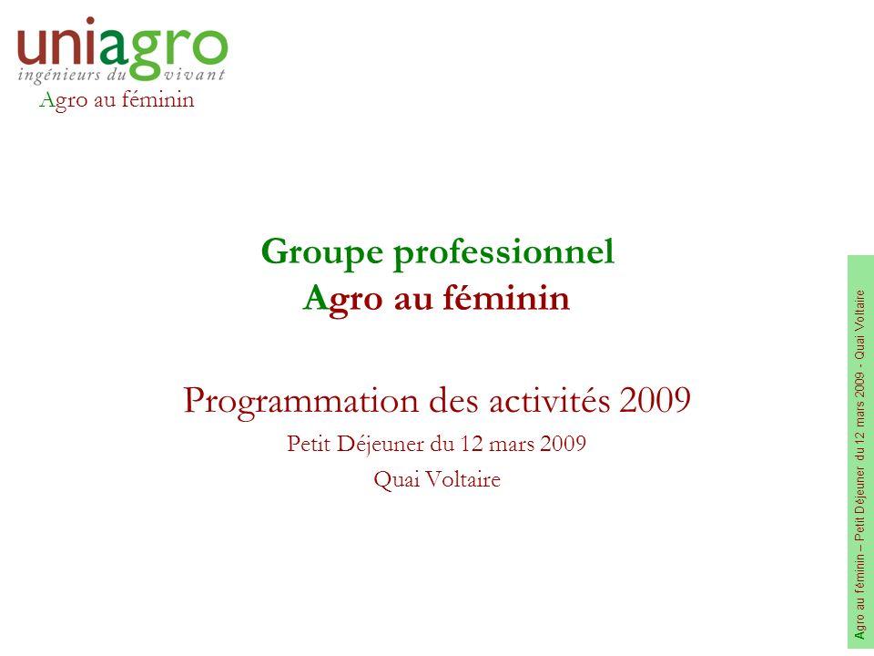 Agro au féminin A gro au féminin – Petit Déjeuner du 12 mars 2009 - Quai Voltaire Groupe professionnel Agro au féminin Programmation des activités 200