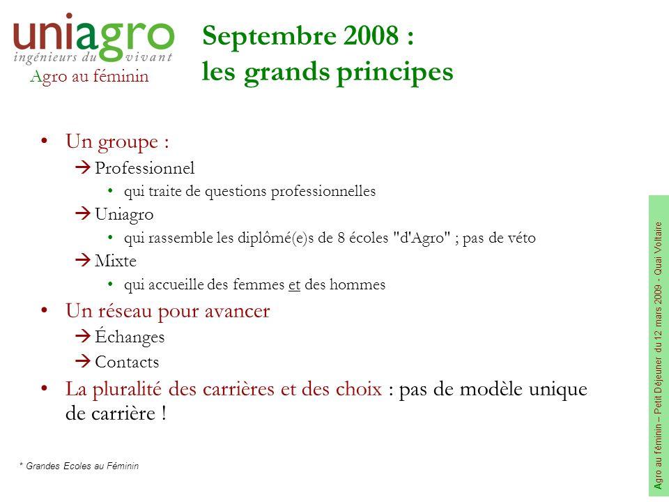 Agro au féminin A gro au féminin – Petit Déjeuner du 12 mars 2009 - Quai Voltaire Septembre 2008 : les grands principes Un groupe : Professionnel qui