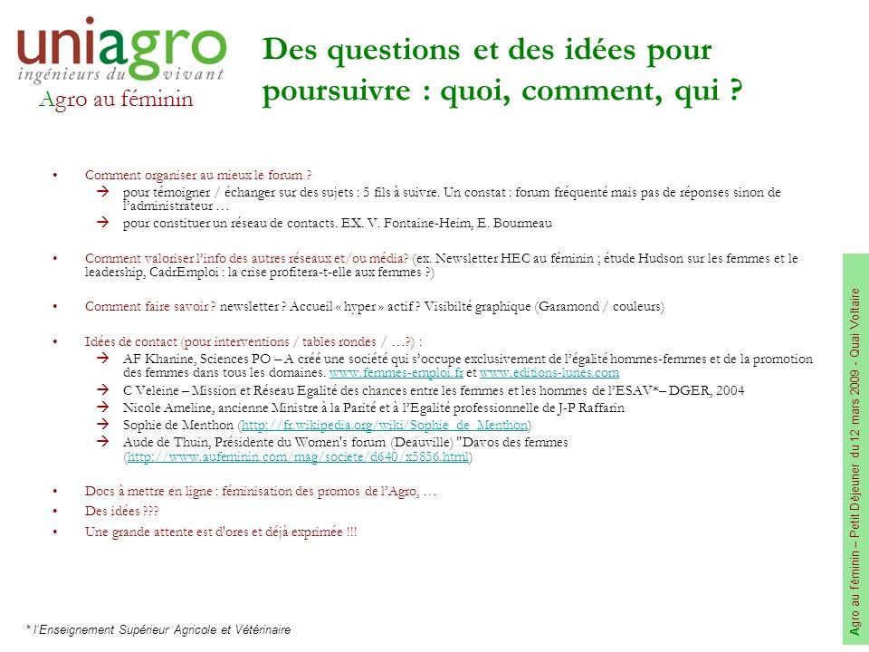 Agro au féminin A gro au féminin – Petit Déjeuner du 12 mars 2009 - Quai Voltaire Des questions et des idées pour poursuivre : quoi, comment, qui ? Co