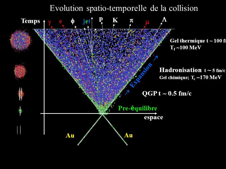 21/11/2002 YS20 Evolution spatio-temporelle de la collision e espace Temps Au Expansion Hadronisation t 5 fm/c Gel chimique; T c 170 MeV p K Gel therm