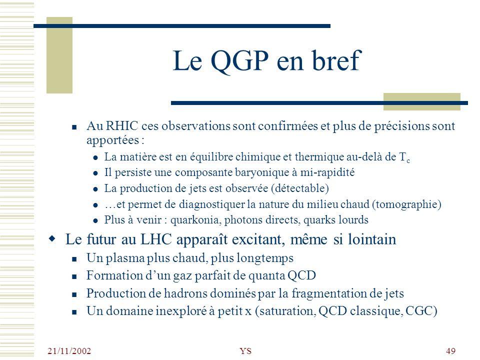 21/11/2002 YS49 Le QGP en bref Au RHIC ces observations sont confirmées et plus de précisions sont apportées : La matière est en équilibre chimique et