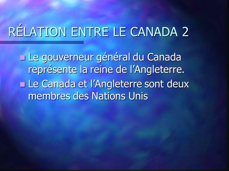 RÉLATION ENTRE LE CANADA En 1800s beaucoup des personnes de En 1800s beaucoup des personnes de l Angleterre venaient aux Canada pour l Angleterre vena