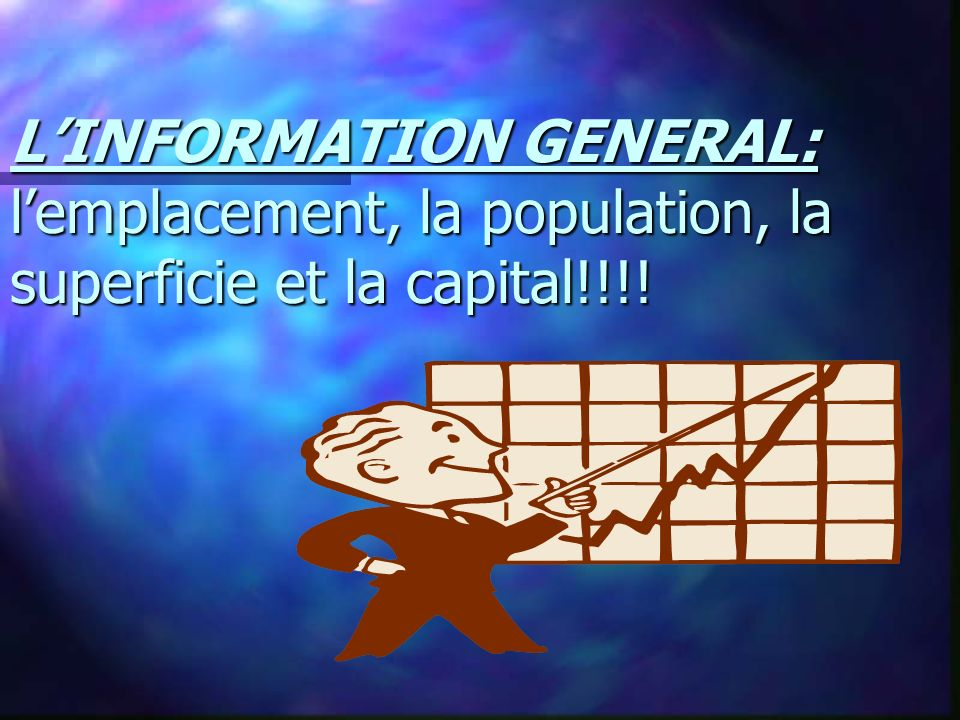 LINFORMATION GENERAL: lemplacement, la population, la superficie et la capital!!!!
